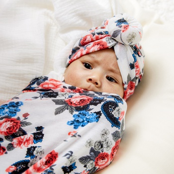 Allover Floral Swaddle Blanket and Hat