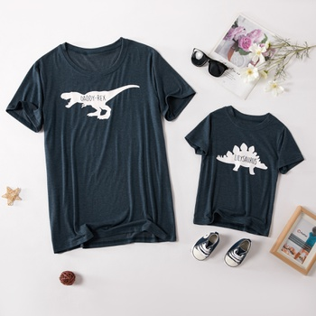Dinosuar Print Pattern Tops for Daddy and Me