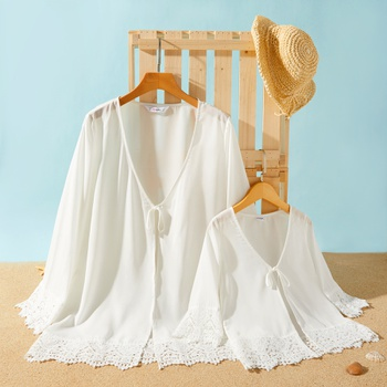 White Chiffon Splicing Lace Cover Up for Mommy and Me