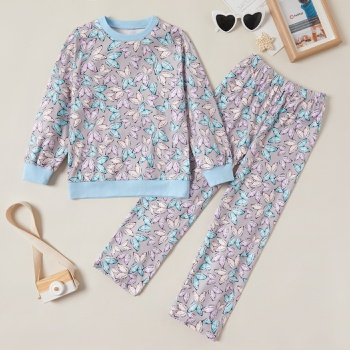 Beautiful Butterfly Allover Print Sweatshirt and Pants Set
