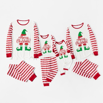 Family Matching Merry Christmas Elf Print Striped Christmas Pajamas Sets(Flame Resistant)