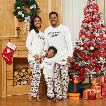 You Serious CLARK Letter Print Family Family Matching Pajamas Sets(Flame resistant)