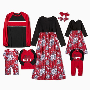 Mosaic Family Matching Red Festive Series Sets(Floral Dresses - Long Sleeve T-shirts Rompers)