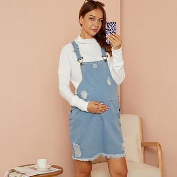 Maternity casual Plain Light Blue Strap dress