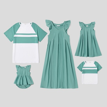 Mosaic Family Matching 100% Cotton Casual Sets (Solid Tank Dresses - Colorblock Short Sleeve Shirts - Rompers)