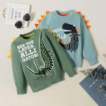 Baby / Toddler Boy Cartoon Dinosaur Letter Print Long-sleeve Pullover