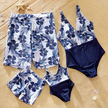 Floral and Leaf Print Splicing One-piece Family Matching Swimwear