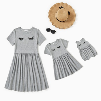 Grey Casual Eyelash Matching Dresses for Mom and Me