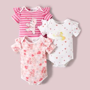Care Bears Baby Girl Flutter-sleeve 100% Cotton Romper