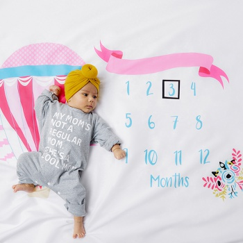 12 Monthly Air-Balloon Print Cute Baby Milestone Photography Newborn Soft Baby Photography Props Background Blanket photo