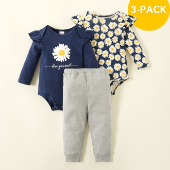 3pcs Baby Girl Sweet Daisies Baby's Sets Cotton Fashion Autumn Romper Long-sleeve Infant Outfit