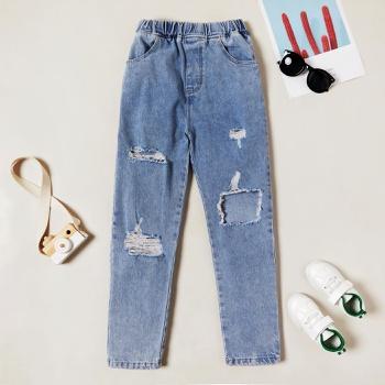 Trendy Denim Elasticized Ripped Tasseled Jeans