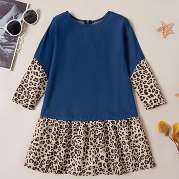 Trendy Denim Leopard Print Longsleeves Dress