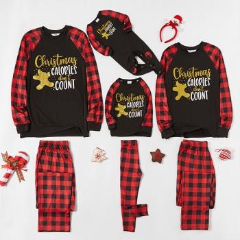 Family Matching Christmas Golden Gingerbread Man Plaid Pajamas Sets