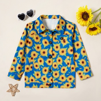 Trendy Sunflower Allover Print Lapel Collar Button Jacket