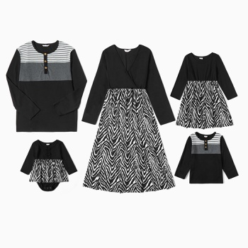 Mosaic Family Matching Dark Series Sets(V-neck Dresses - Long Sleeve T-shirts -Rompers)