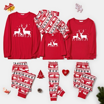 Christmas Family Reindeer Print Matching Pajamas Sets (Flame Resistant)