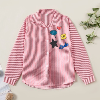 Trendy Striped Love Print Lapel Collar Shirts