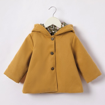 Baby / Toddler Ear Decor Print Solid Hooded Coat