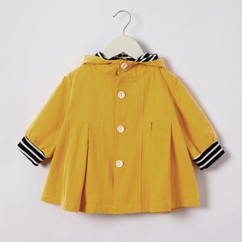 Baby / Toddler Solid Striped Splice Long-sleeve Hooded Coat