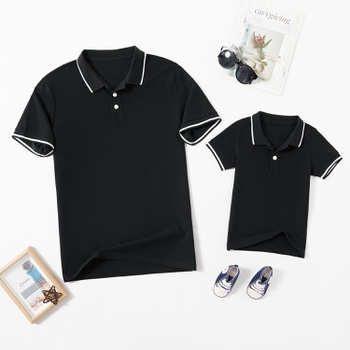 Solid Black Cotton POLO Shirts for Dad and Me