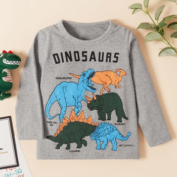 Baby / Toddler Boy Animal Dinosaur Letter Print Long-sleeve Tee