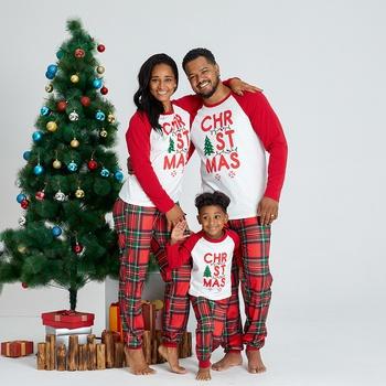 Christmas Tree Letter Print Plaid Family Matching Pajamas Sets (Flame Resistant)