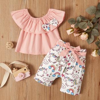 2pcs Baby Girl Short-sleeve Cotton Sweet Animal & Unicorn Baby's Sets