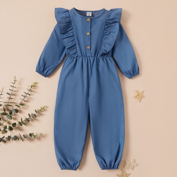 Toddler Girl Solid Ruffled Long-sleeve Jumpsuit