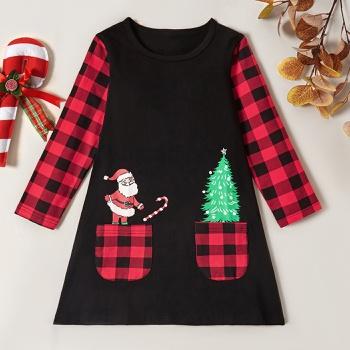 Trendy Christmas Santa Tree Plaid Longsleeves Dress