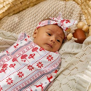 Reindeer Print Christmas Baby Blanket Swaddle