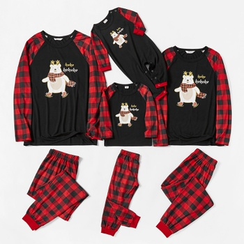 Family Matching Cute Bear Print Christmas Red and Black Plaid Pajamas Sets(Flame Resistant)