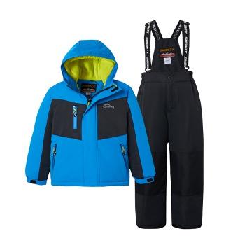 2-piece Kid Boy Splice Hooded Jacket and Snow Bib Ski Suit