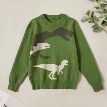 Stylish Dinosaur Print Knitted Sweater