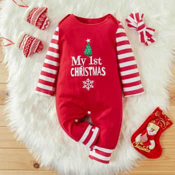 2-piece Baby Christmas Striped Jumpsuit with Headband Set