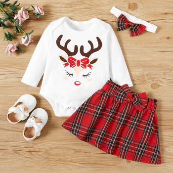 3-pcs Baby Girl Plaid & Elk Sweet Suit-dress Cotton Fashion Long Sleeve Infant Clothing Outfits