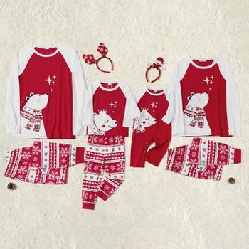 Christmas Cute Bear Top and Snowflake Pants Family Matching Pajamas Sets (Flame Resistant)