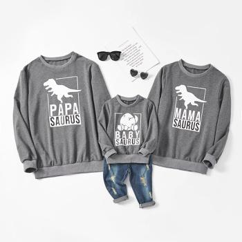 Dinosaur Print Family Matching Grey Cotton Sweatshirts