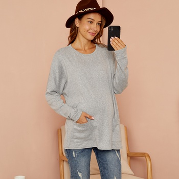 Maternity Round collar Plain T-shirt