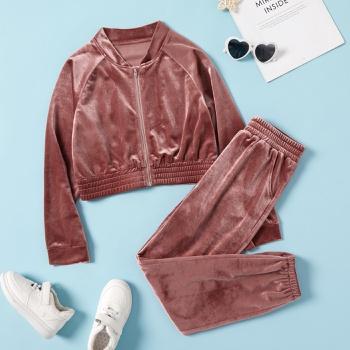 Kids Girl Velvet Zipper Sweatshirt & Joggers Set
