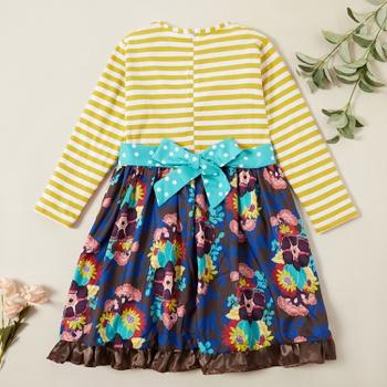 Beautiful Striped Polka Dots Floral Allover Print Ruffled Dress