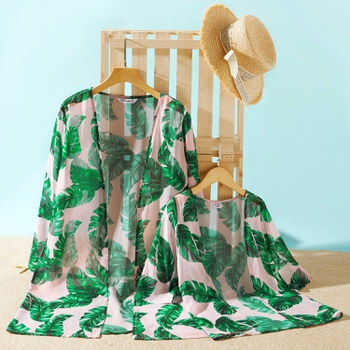 Green Leaf Print Cover Up for Mommy and Me