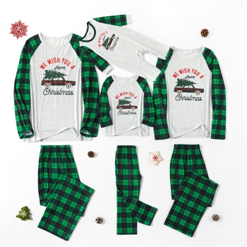 Family Matching Merry Plaid Car and Christmas Tree Print Plaid Pajamas Sets (Flame Resistant)