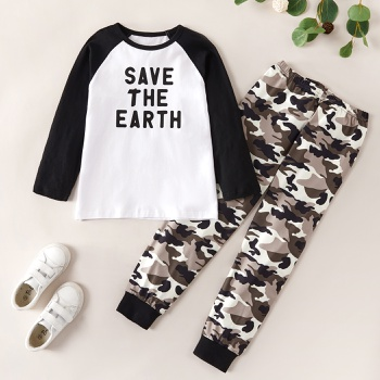 Fashionable Letter Print Longsleeves Tee and Camouflage Allover Pants Set