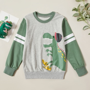 Stylish Dinosaur Print Striped Sweatshirt