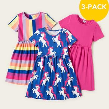 3-piece Unicorn Allover Striped Print Solid Dresses