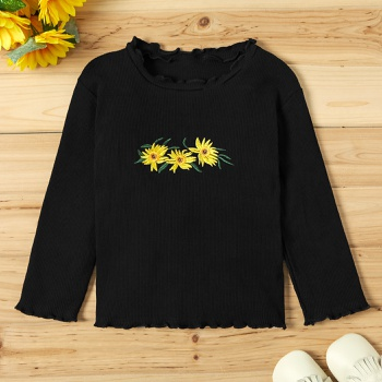 Baby / Toddler Girl Floral Print Ruffle Collar Solid Long-sleeve Tee