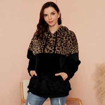 Maternity Hooded  Leopard full print Black Nursing Hoodie