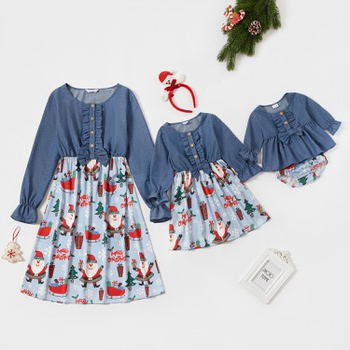 Santa Claus Print Stitching Solid Long-sleeve Matching Dresses Bloomer Set for Baby