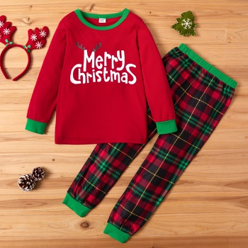 Trendy Christmas Letter Print Sweatshirt and Plaid Pants Set